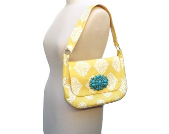 Fabric Handbag Purse, Yellow Shoulder Bag, Cotton Print, Turquoise Jewelry Detail
