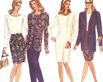 90s Womens Tie Front Jacket, Pullover Dress or Top, Skirt & Pants Vogue Sewing Pattern 1043 Size 14 16 18 Bust 36 38 40 UnCut 5 Easy Pieces