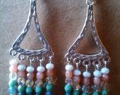 Elegant Pastel Chandelier Earrings, Colored Czech Beads, Clear Crystal Swarovski Beads