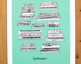 Synthesizer keyboard Illustration