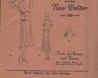 Bust 32-FACTORY FOLDED 1920's Misses Two-Piece Dress/Frock Butterick Deltor 3080 Size 14