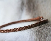 leather choker bronze - handwoven bronze leather choker with round sterling silver lock - leather choker - MariaHelena Design