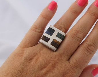 Vintage Sterling Silver 925 Taxco Mexico Square Stone Ring