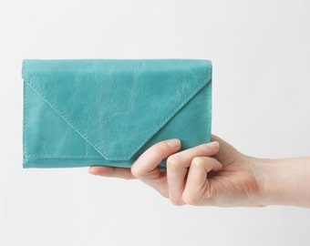 Genuine Leather Envelope Clutch Wallet Turquoise, secretary wallet, big leather wallet, envelope clutch