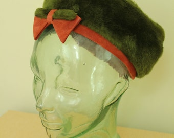 Vintage - 60s - Olive Green Faux Fur - Rust Orange Suede - Bow - Wool - Pillbox - Ladies Hat - Empress - Autumn - Fall