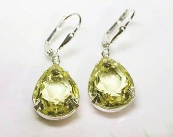 Citrine Earrings Vintage 1950's Yellow Topaz Glass Rhinestones New Estate Style Earrings Christmas Bridesmaids Earrings Prom Party