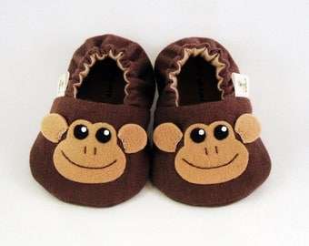 Baby Booties - Newborn, Infant, Baby Slippers, Footwear, 0 - 18 Months - Adorable Monkey Booties - Boys or Girls