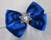 Happy Hanukkah Headband with Feather Poof and Rhinestone Buckle in YOUR CHOICE of Headband or Hair Clip