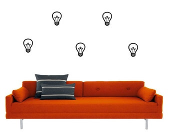 Set of 18 light bulbs vinyl decal - wall decal