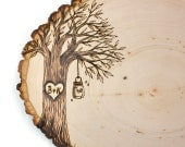 Country Mason Jar/Lantern Design: Wood slice rustic theme wedding guest books. Personalized