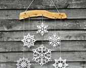 Holiday decor - snowflakes mobile - crochet snowflake and wood ornament for cozy home