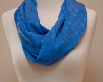 Enzaly Cobalt Blue Squares 100% Silk Scarf