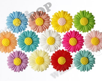 27mm - Large Matte MIXED Color Daisy Sunflower Resin Cabochons, Daisy Cabochons, Sunflower Cabochons, Flower Cabochons (R6-038/45)