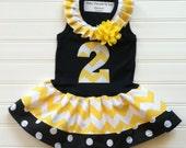Girls Custom Dress Black Yellow Chevron Dress Girls Dress Number Dress Bumble Bee Party Chevron Dress Available 0-3 months through Size 6/8