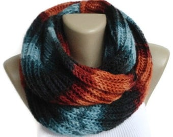 Chunky Scarf / Women Knit Infinity Scarf Men Chunky Cowl Scarf Winter Scarf Accessories Valentines Day Gifts senoaccessory