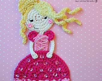 Crochet princess appliqué - crochet pattern, DIY