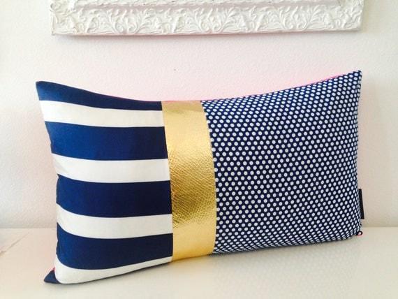 Navy And Pink Decorative Pillows: Decorative Throw Pillow Cover 14x24 Lumbar Cushion Vintage