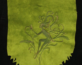 Leather Fairy Banner, leather pyrography