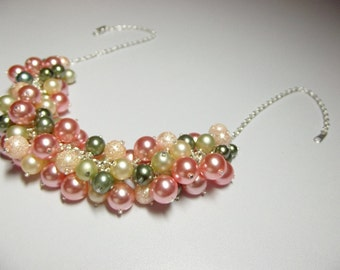 Rose Peach Green Pearl Cluster Necklace, Christmas Gift, Mom Sister Grandmother Wedding Jewelry, Silver, ONLY ONE