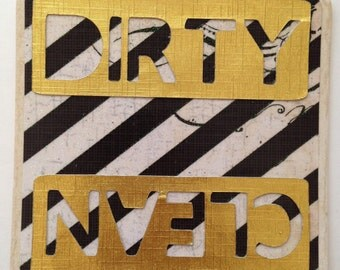 Dirty and Clean Dishwasher Sign Magnet or Velcro- black and white stripe with glitter with gold dirty and clean words