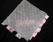 Personalized  Baby Gift --  Blanket   Minky Snuggle Cuddle Mini Blanket Gray and Navy or Pink