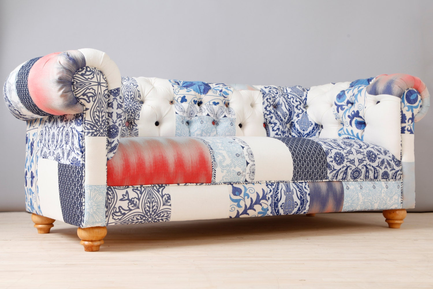 Blue White Porcelain Patch Chesterfield Patchwork Sofa