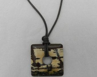 Nursing Necklace - Multicolor Square Stone Pendant