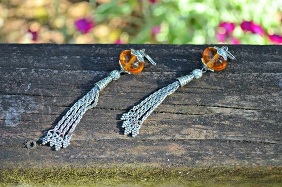 Silver Tassel Earrings with Amber Glass Beads