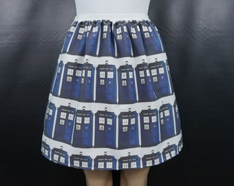 Time-traveling Police Box skirt - Made to order