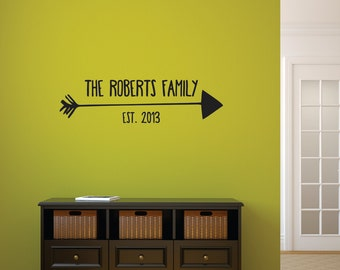 Family Name Wall Decal - Family Decal - Vinyl Wall Decals Personalized Family Name Arrow, Vinyl Wall Art, Family Sign Wall Art