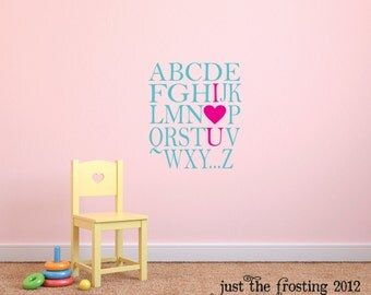 I Love You Wall Decal, Alphabet Wall Decal, Playroom Wall Decal, Childrens Decor Wall Art Decal -  Vinyl Lettering - Kids Vinyl Wall Art