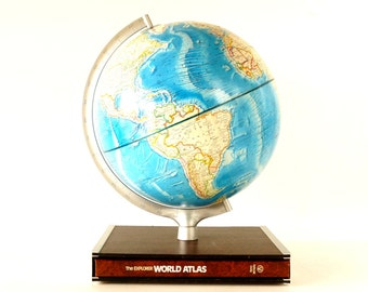 "Vintage Rand McNally International World Globe with Blue Oceans and Hardcover Atlas in Stand, 12"" diameter (c.1978) - Collectible"