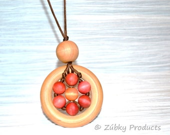 Wooden Flower Teething Necklace by Zúbky - Natural Colorful Design is Chewtastic - Babywearing Nursing Moms Love these
