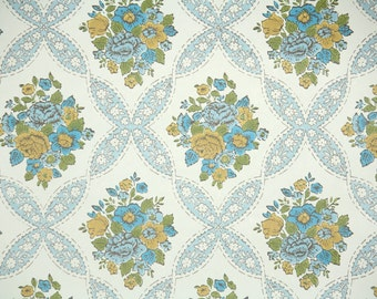 Retro Wallpaper by the Yard 70s Vintage Wallpaper - 1970s Blue and Gold Rose Floral with Blue Ribbon Lattice