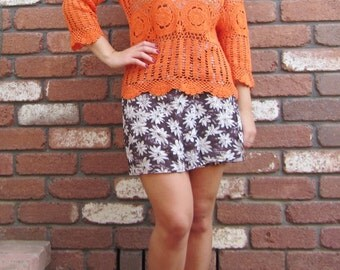 Orange 1970s Crochet Boho Beach Top