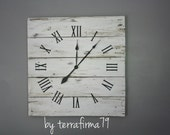 "Large Reclaimed Wood Wall Clock. 26"" by 26"" White Colored Rustic Pallet Wood Clock. distressed.  Shabby Chic. Modern Rustic. Coastal decor"