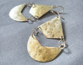gold chandelier earrings - Heights Falafel -- art deco geometric Brass or Silver Hand Forged, Hammered, Bohemian