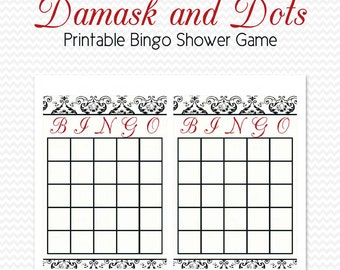 Damask Bridal Shower, Bingo Cards, Shower Game, Black and White with Red Accent, Damask and Dots -- Printable, Instant Download
