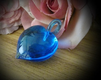 Gorgeous Blue 3D Puffy Glass Lampwork Heart Pendant with a Fused Glass Loophole, Vintage