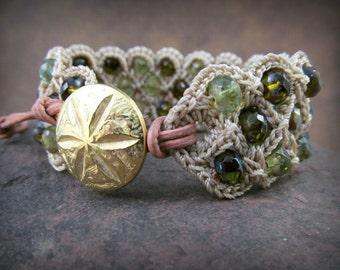 Boho Cuff Bracelet, Shades of green, Emerald, peridot and agua , Crochet Bohemian Boho Chic Jewelry