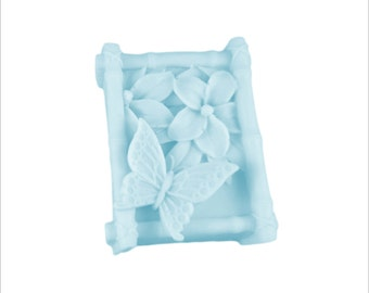 Butterfly Soap: Adorable 3D Butterfly Design in Bamboo Frame, Beautiful Decorative Guest Soap Bar, You Choose Color & Scent