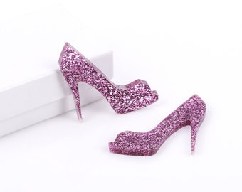 2 Laser Cut Hot Pink Glitter Acrylic Sexy HIGH HEEL SHOE shapes, flat back cabochons lca0009
