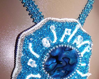blue silver bead embroidered necklace ar pendant