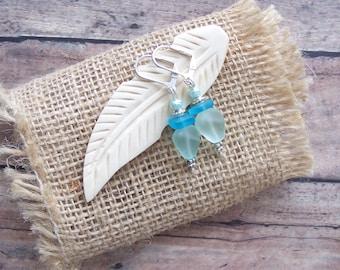 Beach Glass Earrings, Sea Glass Earrings, Aqua Earrings, Beach Earrings, Gifts For Her Under 15, Beach Lovers Gift, Beach Wedding Favors