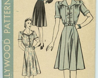 1940s Hollywood 641 Button Front One Piece Dress Vintage Sewing Pattern Bust 34