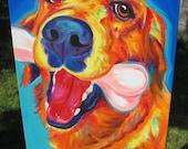 Golden Retriever, Pet Portrait, DawgArt, Dog Art, Golden Retriever Art, Original Painting, Pet Portrait Art, Colorful Dog Art