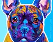 French Bulldog, Pet Portrait, DawgArt, Dog Art, Pet Portrait Artist, Colorful Pet Portrait, Frenchie Art, Pet Portrait Painting, Art Prints