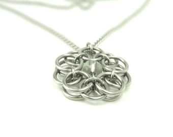 Celtic Knot Necklace Unique Handmade Chainmaille With Clear Glass Pendant