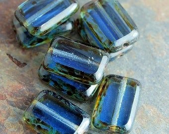 Czech Glass Beads Milky Blue Sapphire Picasso Rectangles  8x12mm - 24 Czech Beads