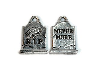 Halloween Charm TierraCast Antique Silver (plated) Grave stone
